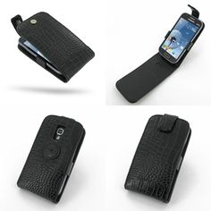 PDair Leather Case for Samsung Galaxy S Duos GT-S7562 - Flip Top Type (Black/Crocodile Pattern)