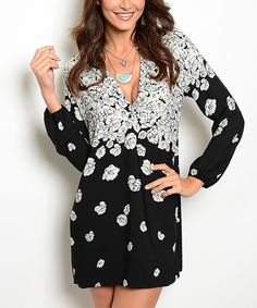 Look at this Black & White Floral V-Neck Dress on #zulily today!