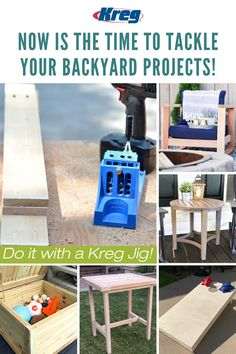 NOW is the time to take on all of your outdoor projects. Build the backyard of your dreams with the help of a Kreg Jig! Discover 900+ FREE project plans at buildsomething.com/plans/list and get started building your perfect outdoor space to enjoy all summer long today! || #kregjig #outdoorprojects #backyard #garden #outdoorproject #cornhole #bags #diy #diyproject #woodworking #tools #projectplans #outdoorfurniture #outdoorstorage Backyard Projects, Outdoor Projects, Wood Projects, Small Woodworking Projects, Woodworking Tools, Best Shop Vac, Kreg Jig K4, Kreg Pocket Hole Jig, Garage Storage Shelves