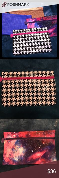 Set of 4 ipsy bags Set of 4 ipsy bags. Bag1- houndstooth with pink zipper. Bag2- purple and pink cosmic bag. Bag3- blue and cream bag with orange zipper. Bag4- gold bag Bags Cosmetic Bags & Cases