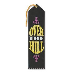 """Pack of 6 Black Over-The Hill Award"""" School Award Ribbon Bookmarks 8"""""""