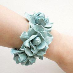 Mint leather floral cuff bracelet
