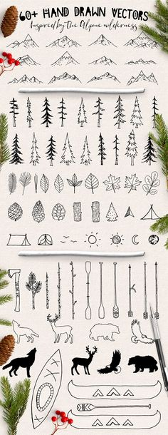Hand Drawn Nature Design Elements by ECHOFOXX on can find Design elements and more on our website.Hand Drawn Nature Design Elements by ECHOFOXX on . Doodle Drawings, Cartoon Drawings, Easy Drawings, Drawing Sketches, Drawing Ideas, Drawing Drawing, Easy Nature Drawings, Cartoon Cartoon, Sketch Ideas