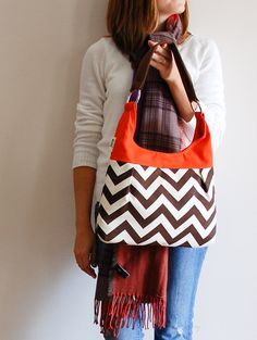Chevron Brown and Orange Pleated Purse! I love these purses by LucyJane