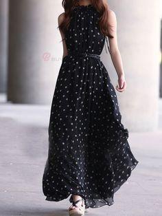 Elegant Flower Petals Collar Dots Printed Sleeveless Chiffon Dress With Belt