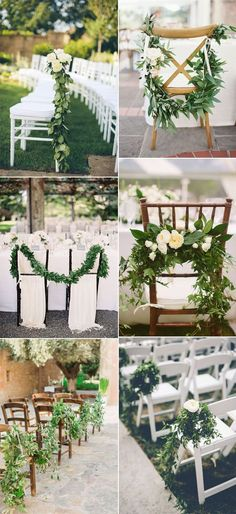 Easy DIY elegant greenery garland wedding chair decoration