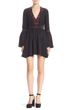Free shipping and returns on Cinq à Sept 'Zane' Embroidered Silk Minidress at Nordstrom.com. Colorful embroidery and tassel-tipped ties bring a chic bohemian sensibility to a silk minidress styled with flared sleeves and gathers at the banded waist to enhance the flowy feel. Created by fashion veteran Jane Siskin, Cinq à Sept—French for