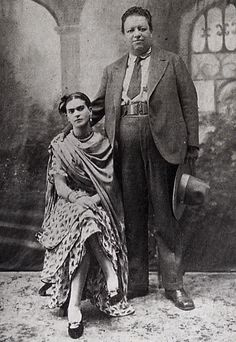 The official wedding portrait of Diego Rivera and Frida Kahlo, August 1929