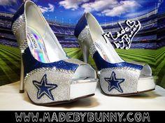 Dallas Cowboys NFL Football Glitter Sports Heels by MadeByBunny, $120.00