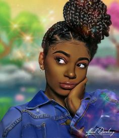 """Finished up another stylized character portrait, I call this one """"Blueberry"""". I hope you guys like this piece! Black Love Art, Black Girl Art, Black Is Beautiful, Black Girl Magic, Art Girl, African American Art, African Art, Drawings Of Black Girls, Natural Hair Art"""