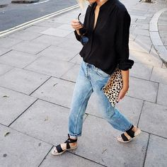 Shop | Clare V clutch Denim and leopard: always
