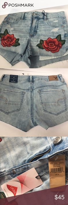 🎉HP🎉 American Eagle Floral Denim Shorts NWT stretch denim cut offs. Rose stitched on front on shorts, regular pockets in back. Never worn, very comfy. American Eagle Outfitters Shorts Jean Shorts