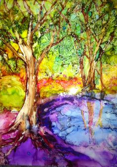 Alcohol Ink on Tile by Mary Scott Blake