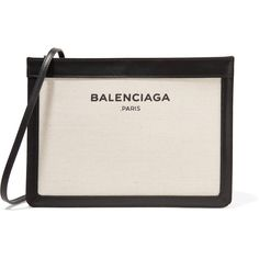 Balenciaga Leather-trimmed canvas shoulder bag ($850) ❤ liked on Polyvore featuring bags, handbags, shoulder bags, purses, cream, man bag, shoulder handbags, canvas crossbody purse, pink crossbody and shoulder hand bags