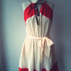 Red And White Rope Strap Dress
