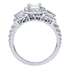 14k White Gold Contemporary Style  Halo Engagement Ring