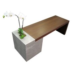 Requiem Concrete Bench by Trueform Concrete with a wood grain edge and a Wood seating area.