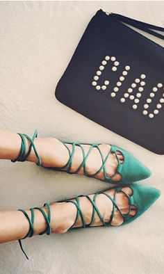 Pretty Shoes, Beautiful Shoes, Cute Shoes, Me Too Shoes, Christian Louboutin, Lace Up Flats, Strappy Flats, Crazy Shoes, Mode Style