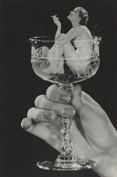 Tricky Illusions Performed Before The Golden Age Of Photoshop  . notice half moon  and French tips on nails 1930s #manicure