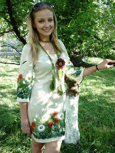 Dress embroidered knit dress knitted dress hand by ViktoriyaSK