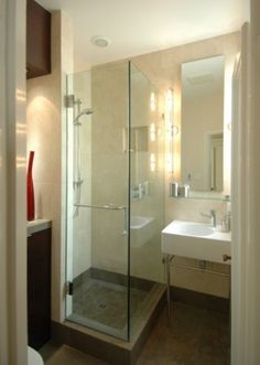 Small Bathroom Design : Its so tiny:Small Bathroom Design On Glass Doorsmall Bathroom Designs With Free Standing Wastafel by blstrawberry