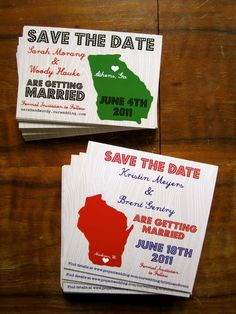 Square 50 States Save the Date Design (Pick Your Colors and State). $15.00, via Etsy.