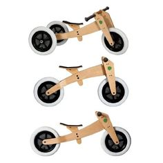 3-in-1 Wishbone Bike: Grows with your child from a three wheeler to a balance bike and then flips to a tall balance bike. $229 #Balance_Bike #Kids #Wishbone_Bike