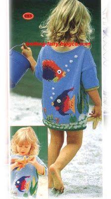 Knitted Little Girl Dress + Diagram Intarsia Knitting, Sweater Knitting Patterns, Knitting Designs, Hand Knitting, Knitting For Kids, Crochet For Kids, Crochet Baby, Little White Dresses, Little Girl Dresses