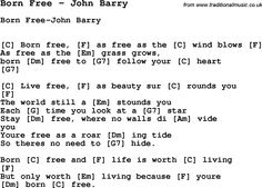 Song Born Free by John Barry, with lyrics for vocal performance and accompaniment chords for Ukulele, Guitar Banjo etc.