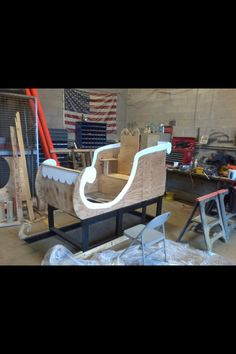 Santa 's sleigh made from pallets and plywood for Christmas show