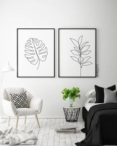 Abstract botanic wall decor minimalist printable art one line drawing Black and . Abstract botanic wall decor minimalist printable art one line drawing Black and white room decor White Room Decor, Living Room Decor, Bedroom Decor, Decor Room, Room Art, White Bedroom, Bedroom Wall, Art Decor, Decor Ideas