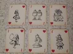Alice in Wonderland Playing Cards - ephemera, vintage style, shabby chic style, red queen, heart, white rabbit, mad hatter, cheshire cat.