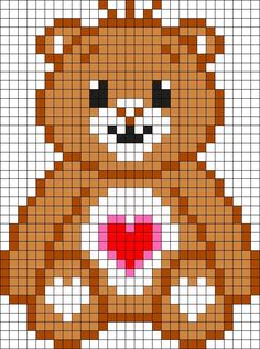 Care Bear Tenderheart Bear Perler Bead Pattern / Bead Sprite