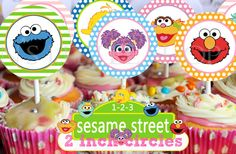 SESAME STREET inspired 2inch circles can be used by nslittleshop, $3.50