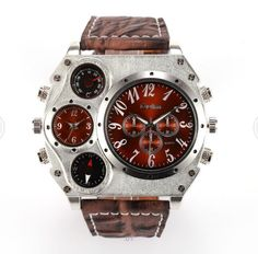 Men's Military Stainless Steel Dual Time Zones Movement Timepiece