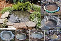 Couldn't find this exact pond DIY instructions but it should be pretty clear from the photo sequence. Large tractor tire trimmed, prepare earth, plastic lining, fill with water, secure around tire, fill in earth around place stones, insert filtered pump fountain from local hardware store, add landscape as needed. Enjoy.