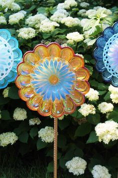 Recycled Vintage Glass Flower Suncatcher / by TheBlueRam. This one sold but contact me for a custom order! elizabeth.opland@yahoo.com