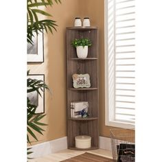 K&B BK19 Grey Wood Corner Bookcase (BK19)