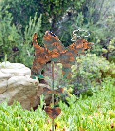 BEAGLE ART / Outdoor Garden Plant Stake Decor / Metal Copper Yard Art / Angel Dog Pet Memorial Garden Marker / Patina Finish