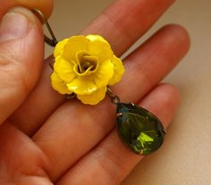 Olive Rhinestone and Yellow Rose Earrings CAMILLE by luxedeluxe, $36.00