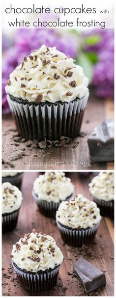 Dark Chocolate Cupcakes with White Chocolate Frosting by milagros
