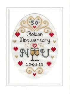 Golden Wedding Anniversary cross stitch card kit