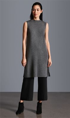 Icon Dress in Ash + Straight Pant in Black