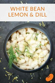This creamy white beans, lemon, and dill recipe is the perfect warm side dish to a big salad. It also goes well on the side of roasted or grilled meats. Made with garlic and cream, there's a dairy-free modification as well. Dill Recipes, Lunch Recipes, Chef Recipes, Dinner Recipes, Chickpea Recipes, Vegetarian Recipes, Healthy Recipes, Delicious Recipes, White Bean Recipes