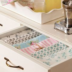 Table linens so organized! Rustic Napkin Rings, Rustic Napkins, Marine Colors, Separating Rooms, Happy Kitchen, Vintage Air, White Clay, Spring Home, Glass Containers