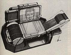 Sketch of the videophone - phone base and headset design by Syd Mead for Deckard's apartment