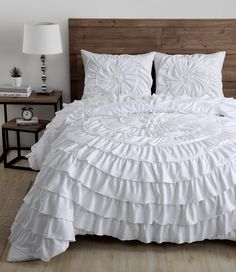 Lush pleats lend dreamy elegance to this charming comforter that graces your bedroom with sophisticated grandeur. Includes comforter and two polyesterMachine washImported Elegant Comforter Sets, Queen Comforter Sets, Bedding Sets, Bedroom Sets, Bedroom Decor, Master Bedroom, Bedrooms, Dream Bedroom, Black White Bedding