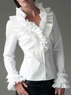 Filadelphia Shirt White - tops & t-shirts White Shirts Women, Blouses For Women, Cute Blouses, Shirt Blouses, Frill Shirt, Beautiful Blouses, Elegant Outfit, Blouse Patterns, Classy Outfits