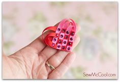 This woven ribbon heart is easy to make! This tutorial uses bits of 1/4in (6mm) ribbon and the heart is great to add to hair clips, pins or scrapbooks.
