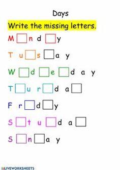 Missing Letter Worksheets, Number Words Worksheets, English Worksheets For Kindergarten, School Worksheets, English Lessons For Kids, Kids English, Learn English, Two Letter Words, Upper And Lowercase Letters